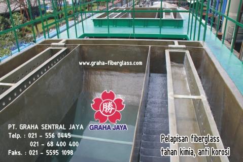 Fiberglass Coating pada bak beton tahan kimia dan anti korosi